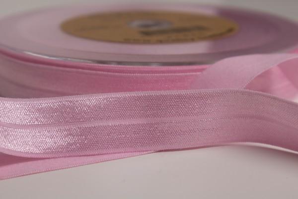 Elastisches Einfassband - Falzgummi Shiny BabyRosa 20mm