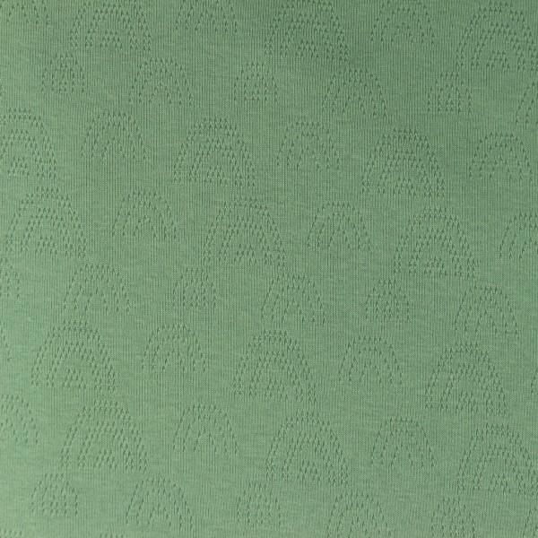 Jersey Feinstrick Ajour Regenbogen Grün