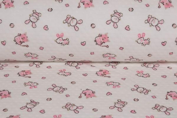 Quilt - Steppstoff Funny Animals Rosa