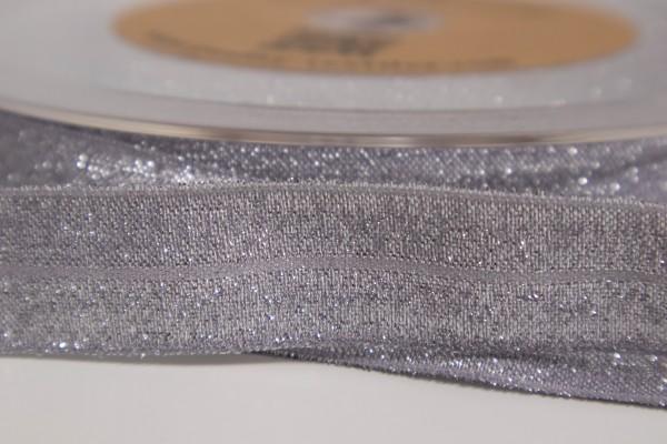 Elastisches Einfassband - Falzgummi Glitzer Silver 20mm